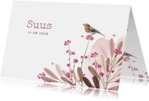 Lief geboortekaartje met velbloemen, watercolour en vogeltje