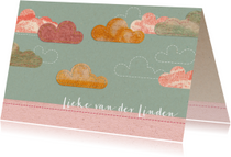 Lief geboortekaartje met wolkjes
