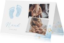 Lief geboortekaartje voor een jongen met blauwe voetjes