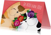 Liefde kaart katten verliefd - SK