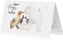 Liefde kaart 'love hugs kisses met konijn kuiken kitten