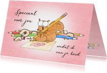 Liefde kaart met een eekhoorn die een hartjestekening maakt