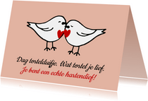 Liefde kaart tortelduifjes