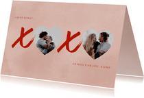 Liefde kaart XOXO hartjes foto's en roze verf