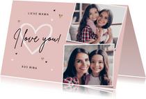 Liefdekaart persoonlijk foto's hartjes mama oma