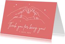 Liefdekaart thank you bedankt vriendschap i love you