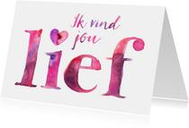 Liefdeskaart waterverf letters