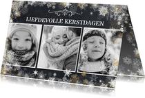 Liefdevolle kerstkaart met 3 foto's in zwartwit
