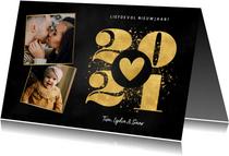 Liefdevolle nieuwjaarskaart goudlook 2021 hartje en foto's
