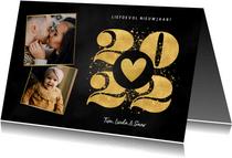 Liefdevolle nieuwjaarskaart goudlook 2022 hartje en foto's