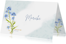 Lieve bedankkaart met afbeelding van Vergeet-mij-nietje