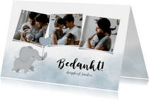 Lieve bedankkaart voor een doopfeest met foto's en olifantje