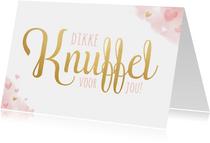 Lieve beterschapskaart met roze waterverf hartjes en knuffel
