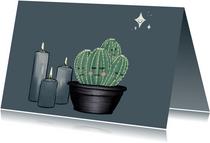 Lieve condoleancekaart met cactussen, sterren & kaarsen