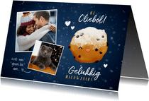 Lieve nieuwjaarskaart Hé Oliebol met foto's en oliebol