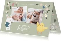Lieve paaskaart met foto's paashaas en kuikentje