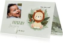 Lieve uitnodiging eerste verjaardag leeuwtje, jungle en foto