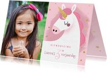 Lieve uitnodiging kinderfeestje eenhoorn, sterretjes & foto