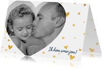 Lieve vaderdagkaart met grote hartjes foto en hartjes