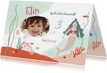 Lieve verjaardagskaart foto roze mint zeemeermin onderwater