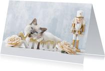 Lieve Xmas kerstkaart met witte kitten en gouden notenkraker