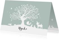 Liggend geboortekaartje met boom en dieren