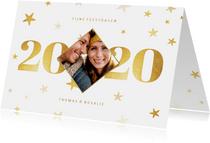Liggende kerstkaart 2020 met foto ruit en sterren