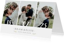 Liggende save the date fotokaart met 3 eigen foto's en datum