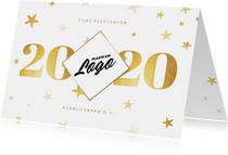 Liggende zakelijke kerstkaart 2020 met logo ruit en sterren