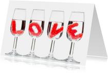 LOVE in champagne glas