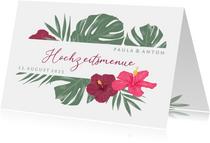 Menue-Karte Hochzeit mit Hibiskus