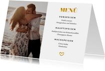 Menükarte zur Hochzeit Goldakzente Fotos A6