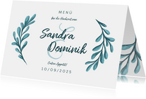 Menükarte zur Hochzeit mit gemalten Zweigen