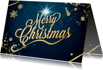 Merry Christmas in goud op blauw