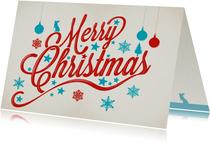 Merry Christmas in lichtblauw en donkerrood