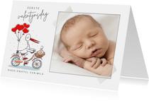 Mijn eerste valentijnsdagkaart met ooievaar en baby