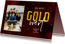 Mitarbeiter Weihnachtskarte 'Gold wert'