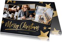 Moderne geschäftliche Weihnachtskarte mit Fotos und Sternen