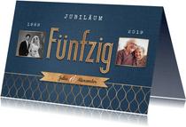 Moderne Jubiläumskarte zum 50. Hochzeitstag mit Fotos