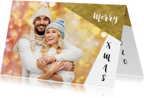 Kerstkaarten - Moderne kerstkaart eigen foto grafisch goud 2020