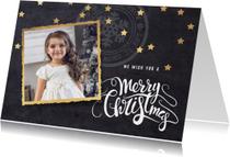 Moderne kerstkaart foto krijtbord