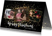 Moderne kerstkaart fotocollage met gouden confetti