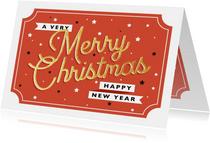 Moderne kerstkaart met retro typografie