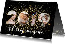 Moderne nieuwjaarskaart 2019 fotocollage en gouden confetti