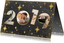 Moderne nieuwjaarskaart met 2019 fotocollage en sterren