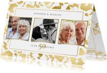 Moderne uitnodiging jubileum gouden planten kader & foto's