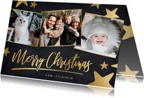 Moderne zwarte kerstkaart met gouden sterren en eigen foto's
