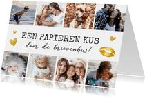 Moederdag fotocollage kaart met 8 foto's - kus in brievenbus