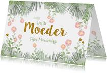 Moederdag hippe kaart bloemen, hartjes en botanica