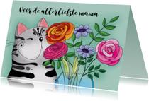 Moederdag kaart Kat met vaas bloemen - SK